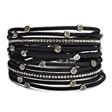 TASBERN Women Leather Wrap Bracelet in Goldplated Metallic Crescents and Crystal Cuff Jewelry for Ladies Girls (TAS012-Black)