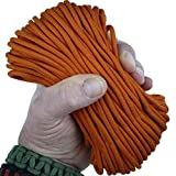 MilSpec Paracord International Orange 110 ft. Hank, Military Survival Braided Parachute 550 Cord. Use with Paracord Tools for Tent Camping, Hiking, Hunting Ropes, Bracelets & Projects. Plus 2 eBooks.