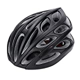 Gonex Adult Bike Helmet, Cycling Road Helmet with Safety Light, 24 Integrated Flow Vents, Adjustable 22.5-24.5 inches (All Black)