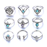OWMEOT 1Set 9pcs Women Bohemian Vintage Silver Stack Rings Above Knuckle Blue Rings Set