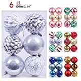 Valery Madelyn 6ct 100mm Frozen Winter Silver White Shatterproof Christmas Ball Ornaments Decoration,Themed with Tree Skirt(Not Included)