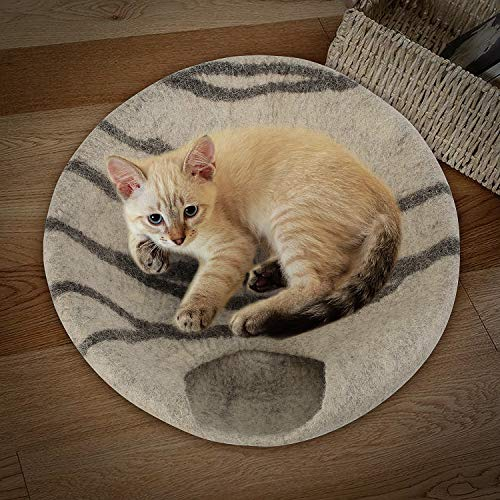 "pedy 19"" Cat Cave Bed Large, Premium Handmade Natural Wool Self Warming Cat Cubby Enclosed for Cats and Kittens"