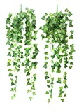 Yatim 90 cm Sweetpotato Ivy Vine Artificial Plants Greeny Chain Wall Hanging Leaves for Home Room Garden Wedding Garland Outside Decoration Pack of 2