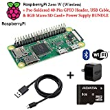 Raspberry Pi Zero W (Wireless) with Pre-Soldered 40-Pin GPIO Header, USB Cable, Power Supply Adapter + 8GB MicroSD Memory Card Bundle