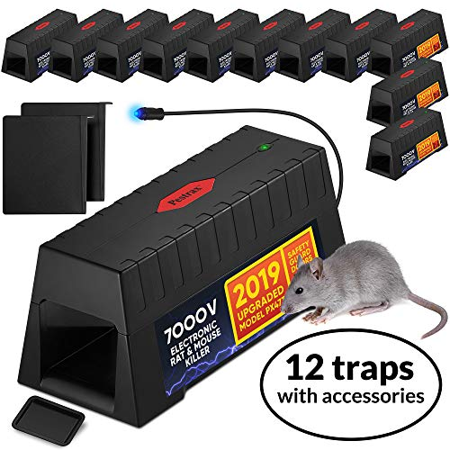 12 PACK Electronic Rodent Zapper -Effective, Humane Exterminating Mice Killer Electric Mouse Trap -Electronic Rodent Shock Trap - No Poison Electric Pest Control Rat, Squirrel, Mice Mouse Zapper Traps