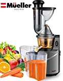 Mueller Austria Ultra Juicer Machine Extractor with Slow Cold Press Masticating Squeezer Mechanism Technology, 3 inch Chute accepts Whole Fruits and Vegetables, Easy Clean Large Nickel
