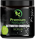 Activated Charcoal Exfoliating Body Scrub - Exfoliating Face Hand Lip Foot & Body Sea Salt Exfoliator Pore Minimizer Deep Facial Cleansing Blackhead & Acne Scars Remover, Anti Cellulite