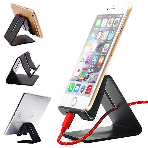ANOLER ANLOER Solid Portable Universal Aluminum Desktop Mobile Smart Cell Phone Holder Tablet Stands for Switch iPhone 7 6 Plus 5 2 3 4 Ipad Mini iPod Touch Samsung (Bl, Black