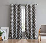 HLC.ME Lattice Print Thermal Grommet Room Darkening Blackout Patio Door Curtain for Sliding Glass Door - Grey - 100' W x 84' L