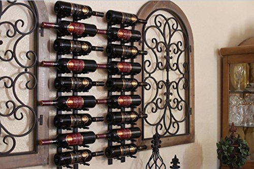 Black Wall Mounted Wine Rack, Stores Label Out