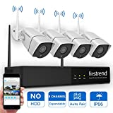 [Newest] Wireless Security Camera System, Firstrend 8CH 960P Wireless NVR System With 4pcs 1.3MP IP Security Camera with 65ft Night Vision and Easy Remote View, P2P CCTV Camera System(No Hard Drive)
