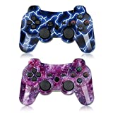 PS3 Controller Wireless 2 Pack Double Shock Gamepad for Playstation 3 Remotes, Six-Axis Wireless PS3 Controller with Charging Cable