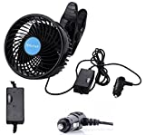 Alagoo 12V 6''Car Cooling Fan Automobile Vehicle Clip Fan Powerful Quiet Ventilation Electric Car Fans with Adjustable Clip & Cigarette Lighter Plug for Car/Vehicle