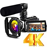 4K Camcorder Vlogging Video Camera Ultra HD 60FPS Digital Recorder YouTube Camera WiFi IR Night Vision 3.0' IPS Touch Screen with Microphone, Wide Angle Lens, Lens Hood, 2 Batteries