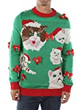 Tipsy Elves Men's Crazy Cat Man Ugly Christmas Sweater (X-Large) Green