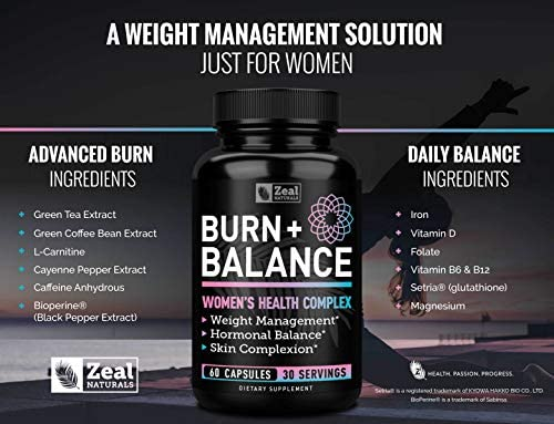 Weight Loss Pills for Women + Daily Balance Vitamins (Iron, Vitamin D, Setria®, Folate,+) Premium Diet Pills for Women + Womens Multivitamin with Iron, D & B Vitamins & Hormone Balance for Women 7