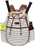 LISH Down the Line Canvas Tennis Racket Backpack - Women's Striped Print Drawstring Racquet Holder Bag (Grey Stripe)