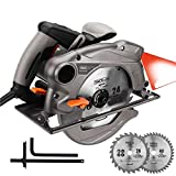 Circular Saw 7-1/4' 15 Amp, 10 feet Core Length, Lightweight Aluminum Guard with Laser, 2 Blades,Max Cutting Depth 2-1/2''(90°), 1-4/5''(45°) - Tacklife