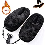 Heated Slippers Cold Weather Shoes, Kamlif USB Electric Heated Up Shoes,Comfortable Plush Winter Shoes to Keep Feet Warm as Thanksgiving Christmas Gifts(Black)