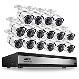 ZOSI 16 Channel 1080p Security Camera System,16 Channel Full HD 1080p Hybrid DVR Recorder and 16 Outdoor/Indoor CCTV Bullet Camera 1080p with 100ft Long Night Vision and 105°Wide Angle (No Hard Drive)