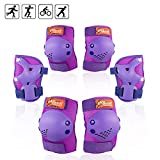 eNilecor Kids Knee Pads, Child Protective Gear Set, Toddler Knee Elbow Pads Wrist Guards for Skateboarding Cycling Roller, Rollerblade, Skates, Skateboards,Scooters (Purple, Medium)