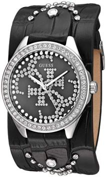 GUESS Women's Stainless Steel Quartz Watch with Leather Calfskin Strap, Black, 35.4 (Model: U1140L1)