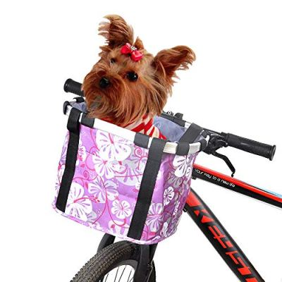 ANZOME Bike Basket, Folding Small Pet Cat Dog Carrier Front Removable Bicycle Handlebar Basket Quick Release Easy Install Detachable Cycling Bag Mountain Picnic Shopping - Purple