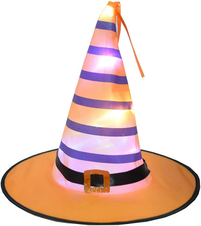 Chyoung Led Light Up Halloween Witch Hat Battery Powered Glowing Witches Hat Halloween Party Supplies Amazon Co Uk Sports Outdoors