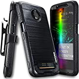 Moto Z3 Play/Moto Z3 Case, COVRWARE [Iron Tank] with Built-in [Screen Protector] Heavy Duty Full-Body Rugged Holster Armor Case [Brushed Metal Texture Design][Belt Swivel Clip][Kickstand], Black