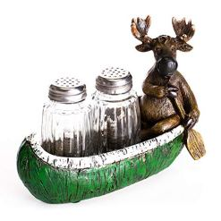 Moose Canoe Salt Pepper Shakers