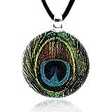 Chuvora Hand Blown Venetian Murano Glass Glitter Green Peacock Feather Round Pendant Necklace, 17-19 inches