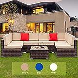 Tenozek 7 Pieces Outdoor Furniture Patio Sectional Sofa Wicker Patio Set All Weather PE Rattan Conversation Set(Brown, 6 Seats + Coffee Table)