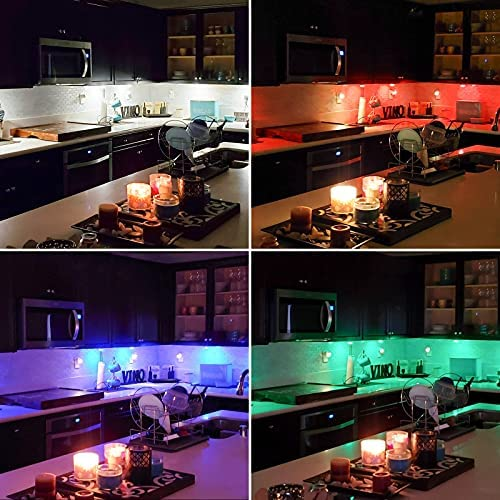 Elfeland Puck Lights with Remote Wireless LED Color Changing Puck Lightings, Dimmable Under Cabinet Lighting, Puck Lights Battery Operated, Closet Lights Under Counter Lighting Stick On Lights(6 Pack) 16