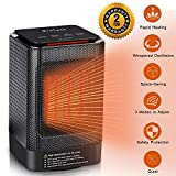 MroTech Ceramic Space Heater, Portable Oscillating Electric Heater with Overheating Protection & Adjustable Heating & Carrying Handle, 3 Wind Modes, Quiet, Perfect for Home & Office Use (950w)