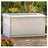 Suncast 50 Gallon Deck Storage Box - Small Waterproof Outdoor Storage Container for Gardening Tools, Athletic Equipment and More - Store Items on Deck, Patio, Backyard - Taupe