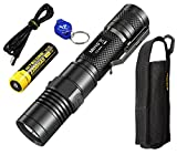 Nitecore MH10 1000 Lumens Rechargeable LED Flashlight w/Battery, Holster and Lumen Tactical Keychain Light