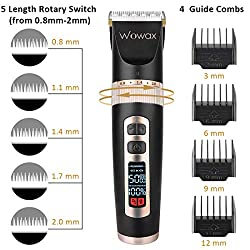 Wowax Hair Clippers for Men Professional Cordless Hair Trimmers Edgers Kit, Rechargeable Home Hair Cutting Machine for Kids Boys Babies, Titanium Ceramic Blade LCD Display  Image 2