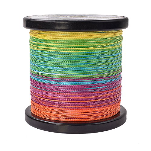 HERCULES Braided Fishing Line 1000m 1094yds 6lbs-100lbs Pe 4 Strands (Multicolor 50lb/22.7kg 0.37mm)