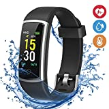 moreFit Waterproof Activity Tracker, Fitness Tracker Color Screen Smart Watch, Blood Pressure Watch with Sleep Monitors, Heart Rate Calorie Pedometers Call/SMS Alert for Women Men Students Kids Black