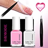 Liquid Latex for Nails - 2PCS Upgrade Fast Drying Peel Off Latex Tape Nail Polish Barrier, Cuticle Skin Protector with Free Tweezers for Messy Nail Art By DR.MODE