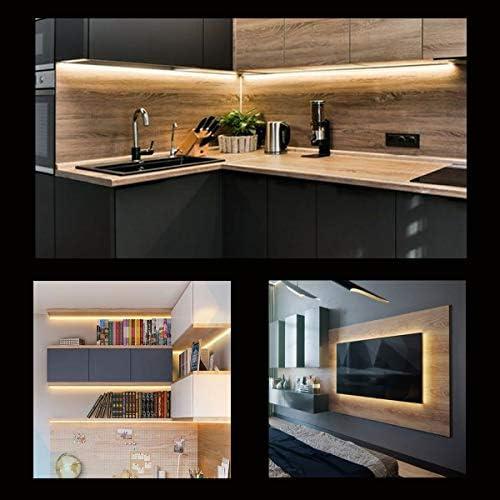 wobsion Under Counter Lights for Kitchen, Under Cabinet Lights Plug in, Under Kitchen Cabinet Lighting,Flexible LED Strip Lights for Kitchen,Pantry,Desk,Shelf,2700K Warm White,6.6 Feet DIY Tape Light 17