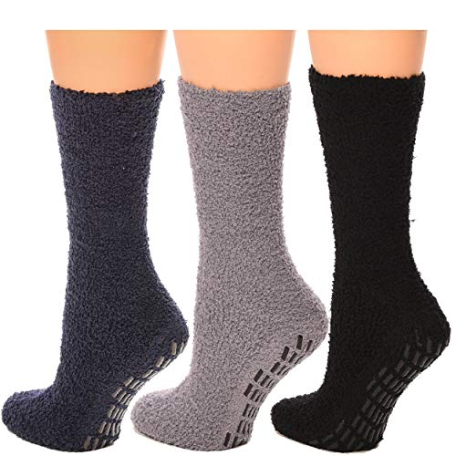 Hospital Socks Women Men Non Skid Gripper Cozy Socks DEBRA WEITZNER 3 Pairs
