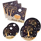 200PCS Halloween Party Supplies Paper Plates and Napkins Bulk 9 inch 7 inch Dessert Round Disposable Plates Black Eco Friendly Party Tableware Set (for Halloween)