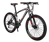 Extrbici Mountain Bike for Men 27.5-inch Wheel 21 Speed Suspension Fork (Black red)