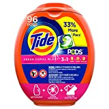 Tide Pods Liquid Detergent Pacs Fresh Coral Blast, 96 Count - Packaging May Vary