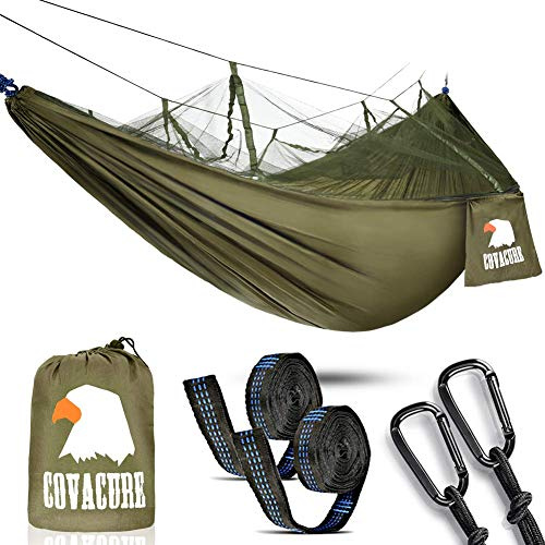 Camping Hammock with Mosquito Net - Lightweight COVACURE Double Hammock, Portable Hammocks for Indoor,Outdoor, Hiking, Camping, Backpacking, Travel, Backyard, Beach