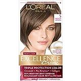 L'Oréal Paris Excellence Créme Permanent Hair Color, 5 Medium Brown, 1 kit 100% Gray Coverage Hair Dye
