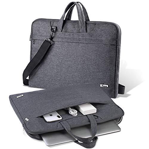 V Voova Laptop Bag 15 15.6 Inch Water Resistant Laptop Case Sleeve Shoulder Bag with Carry Handle Compatible MacBook Pro 15.4'/Surface Book 2/HP/Lenovo/Dell/ASUS/Acer ChromeBook Notebook, Grey
