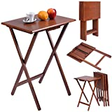 Product review for Giantex Set of 4 Portable Wood TV Table Folding Tray Desk Serving Furniture Walnut