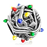 Authentic BELLA FASCINI Christmas Lights Charm Bead - Multi-Colored String - Sterling Silver Luxe Color